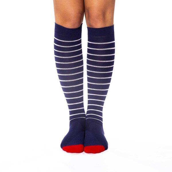 Calcetines compresivos rayas azul marino kalcetin.es