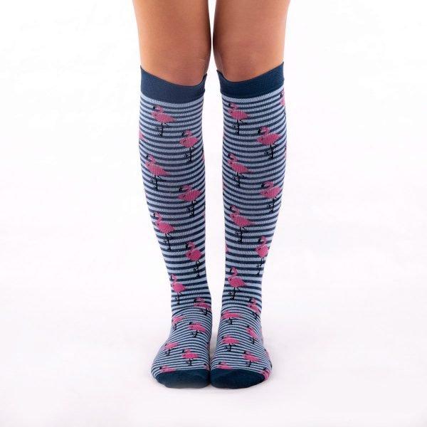 calcetines de compresion flamencos azul oscuro kalcetin