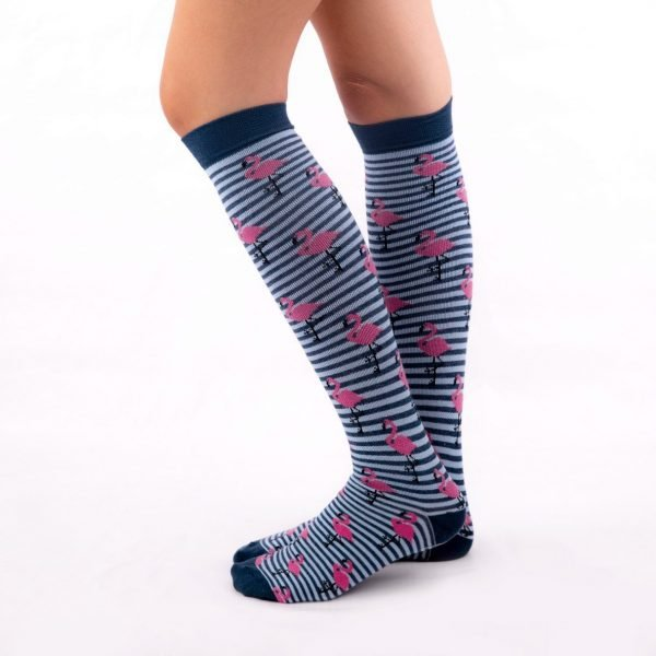 calcetines compresion flamencos azul oscuro kalcetin.es