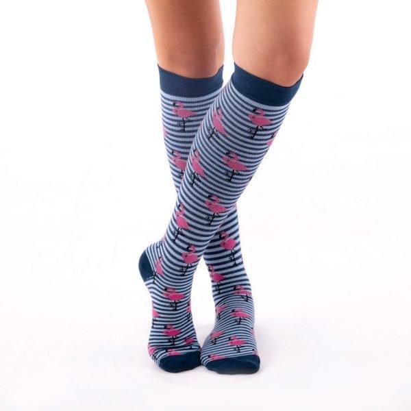 calcetines de compresion flamencos azul oscuro kalcetin.es
