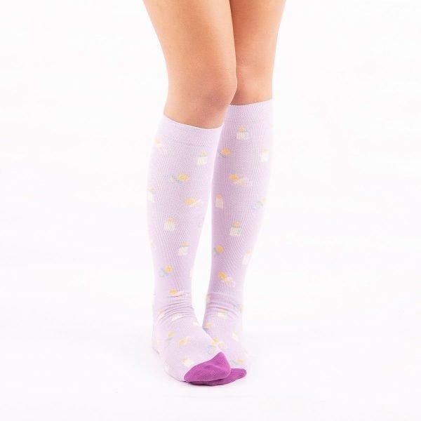 calcetines de compresion materindad lilas casual kalcetines