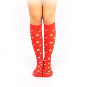 calcetines de compresion estrellas rojo frontal