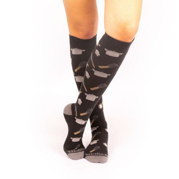 calcetines de compresion cocineros gris