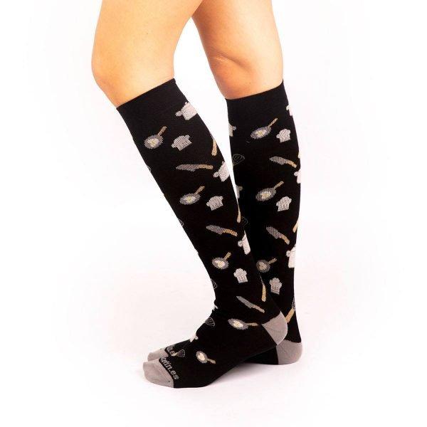 calcetines de compresión cocinero negro