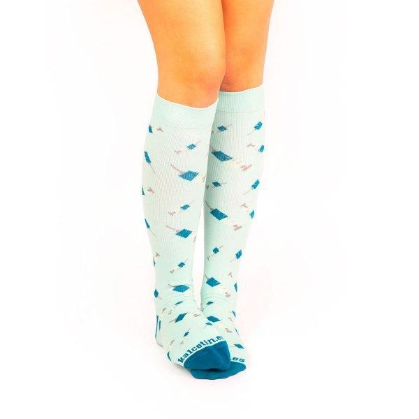 calcetines de compresion jeringuillas turquesa casual kalcetin.es