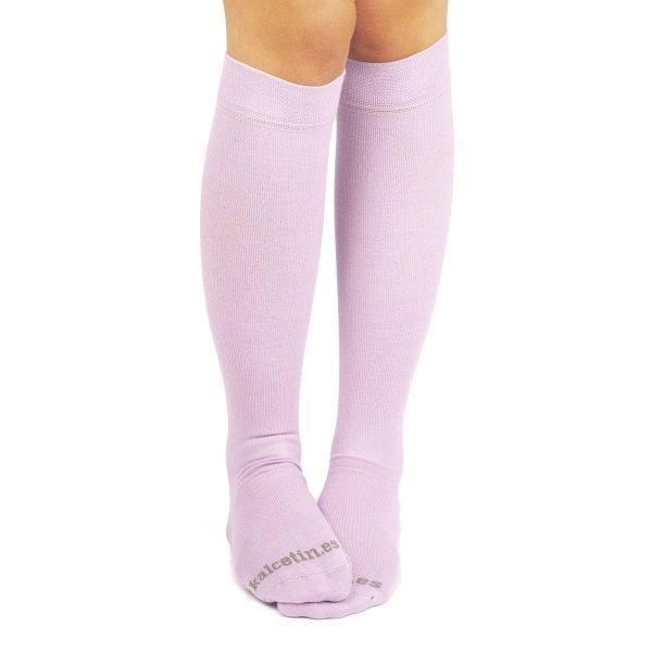calcetines de compresion lila casual