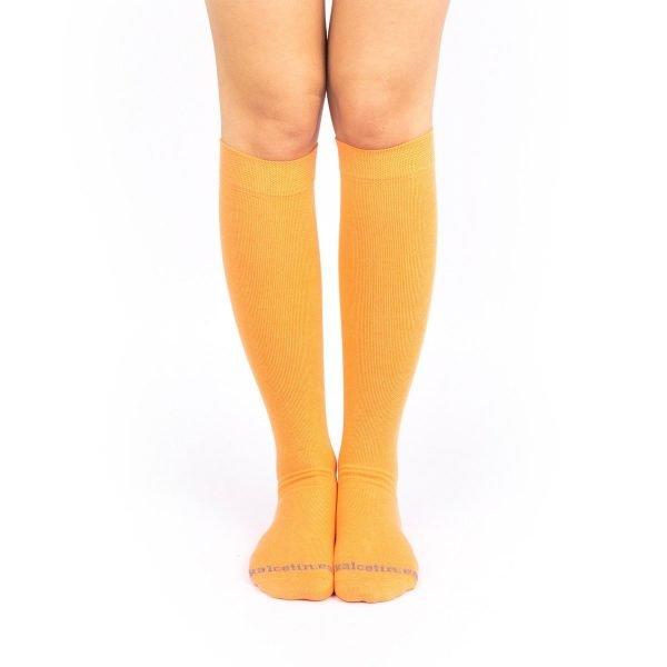 calcetines de compresion naranja color liso kalcetin.es