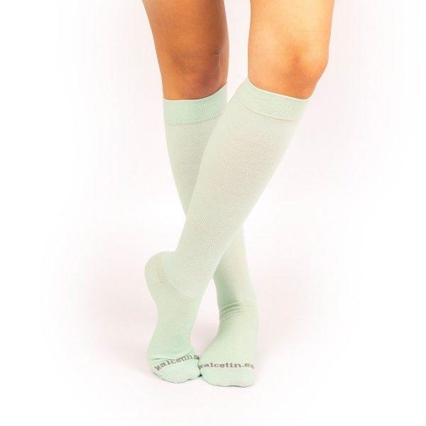 calcetines de compresión lisos aguamarina verde claro