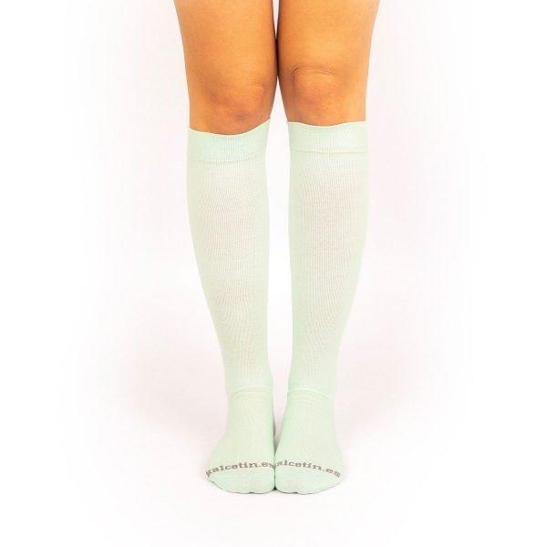 calcetines de compresión aguamarina lisos verde claro